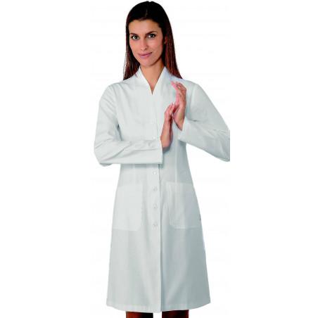 Blouse médicale blanche femme à manches longues en coton LUGANO