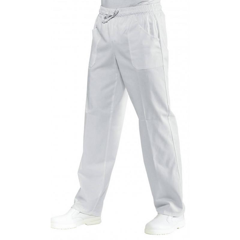 SATIN Pantalon à élastique blanc sans repassage