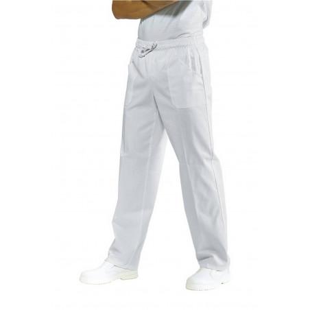 Pantalon médical  blanc mixte à taille élastique SUPER DRY