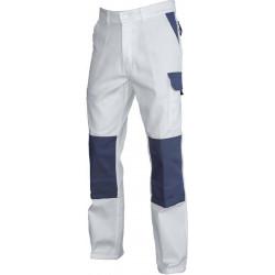 Pantalon de travail TYPHON Blanc/Gris poche genouillères DESTOCKE
