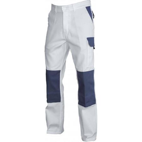 TYPHON Pantalon de travail Blanc/Gris poche genouillères