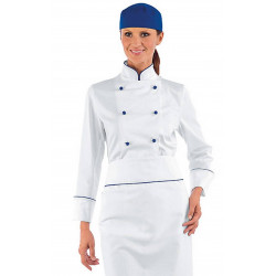 Veste de chef cuisinière en coton à manches courtes BLUE CHEF