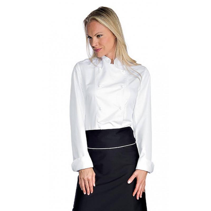 Veste de chef cuisinière en polyester à manches courtes LADY SUPER DRY