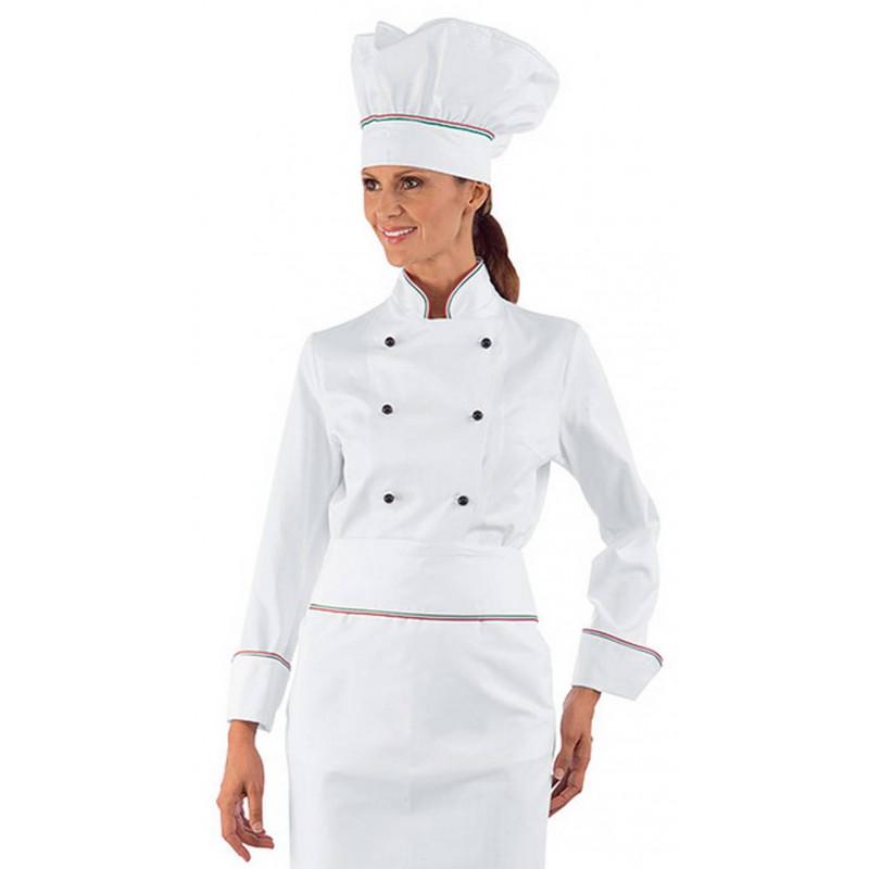 Veste de chef cuisinière en coton à manches courtes LADY ITALY