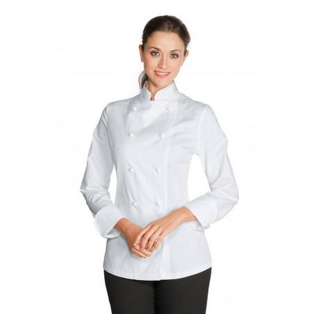Veste de chef cuisinière en coton satin à manches courtes LADY