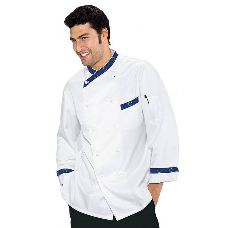 Veste de cuisine homme en coton satin à manches courtes EUROTOP