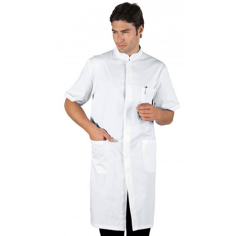 Blouse blanche en coton à boutons DAVEMPORT MANCHES COURTES