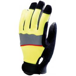 Lot 12 paires de gants fluo jaune avec bande réflective