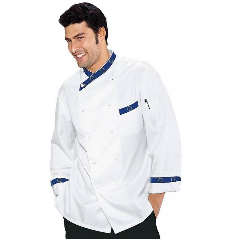 Veste de cuisine homme manches longues coton satin EUROTOP