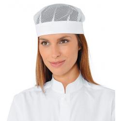 POMPEI Calot de cuisine blanc avec filet