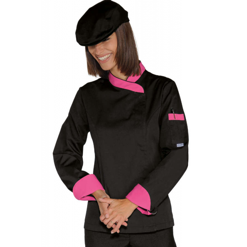 veste de cuisine femme manches longues, veste cuisinière, tenue de ... - Veste De Cuisine Noir Pas Cher