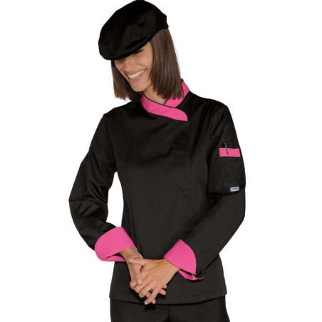 Veste de cuisine femme noire manches longues SNAPS