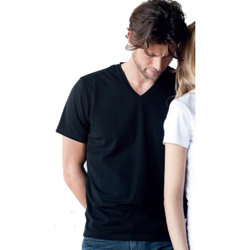 T-Shirt noir 100% coton à col V homme destocké