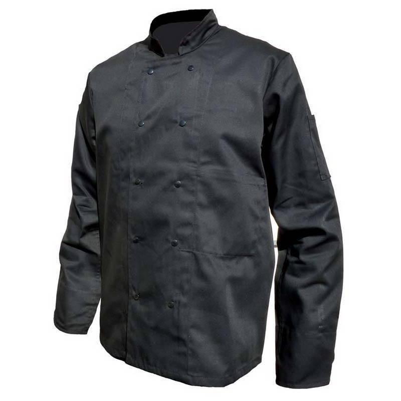Veste de chef cuisinier manches longues noir polycoton PBV