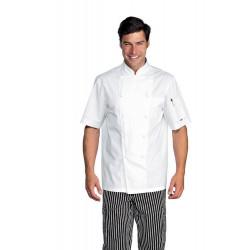 Veste de chef cuisinier en coton satin à manches courtes ISACCOCHEF