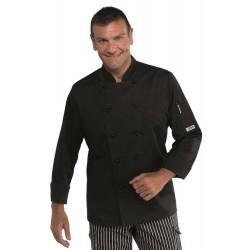 Veste de cuisine homme noire ALABAMA SLIM POLYCOTON