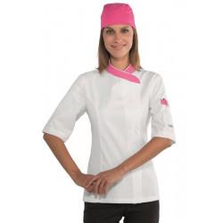 Veste de cuisine femme coton manches courtes SNAPS