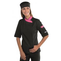 Veste de cuisine femme noire manches courtes SNAPS