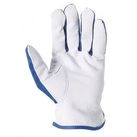 Lot 12 paires de gants maîtrise fleur chèvre dos polyester bleu.  818
