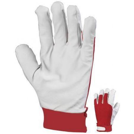 Lot 12 paires de gants de maîtrise fleur porc dos coton rouge serrage auto-grippant