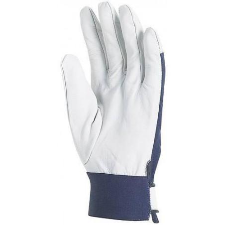Lot 10 paires de gants chèvre dos jersey bleu, poignet serrage auto-grippant