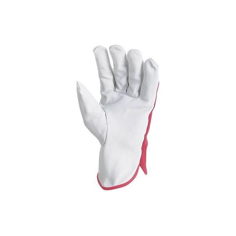 Lot 12 paires de gants maîtrise fleur vachette, dos toile forte rouge