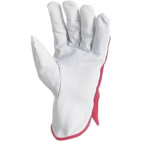 Lot 12 paires de gants maîtrise fleur vachette, dos toile forte rouge. 878