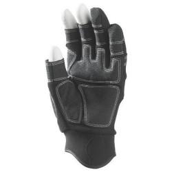 Lot 12 paires de mitaines 3 doigts ouverts, synth. Noir, paume renforcée. Autogrip