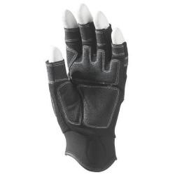 Lot 12 paires de mitaines 5 doigts ouverts, synth. Noir, paume renforcée. Autogrip.