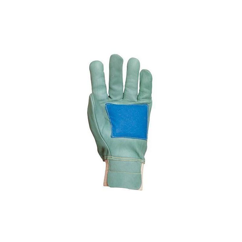 Lot 12 paires de gants forestier tt fleur vach. vert, renf. paume, hydrof., prot. artère