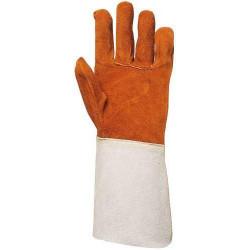 Lot 10 paires de gants tout croûte vachette, ignifugé, manchette 15 cm