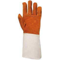 Lot 10 paires de gants tout croûte vach., doublé molleton, m. 15 cm