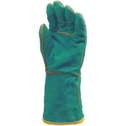 Lot 12 paires de gants tout croûte vach. verte, doublé molleton, m. 15 cm