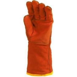 Lot 12 paires de gants tout croûte vach. rouge, doublé molleton, m. 15 cm