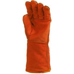 Lot 12 paires de gants Kevlar croûte vach. rouge, doublé molleton, m. 15 cm