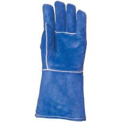 Lot 12 paires de gants Kevlar croûte vach. bleue, doublé molleton, dos aluminisé