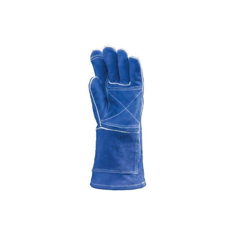 Lot 12 paires de gants Kevlar croûte vach. bleu renfort paume/index, molleton m. 15 cm
