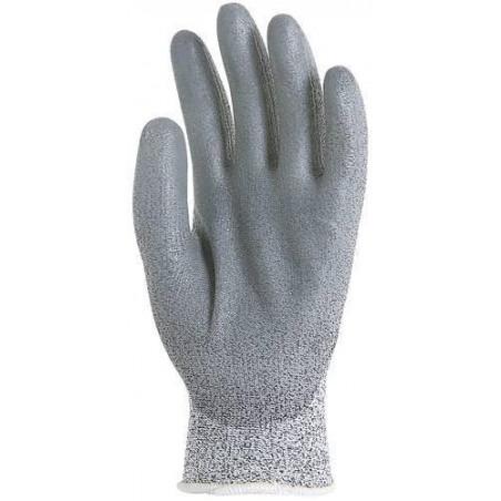 Lot 12 paires de gants HPPE gris, paume enduit polyuréthane gris, anticoupure