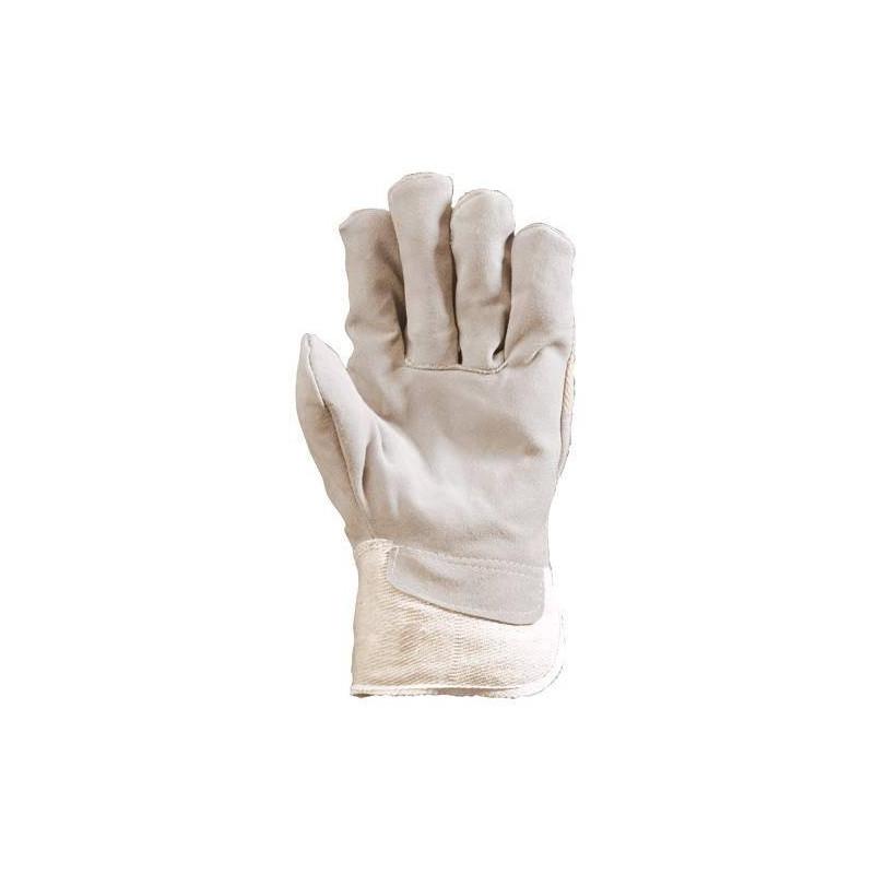 Gants docker croûte vachette supérieure blanc