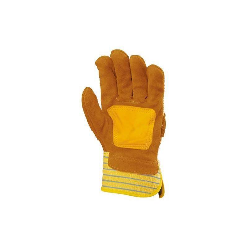 Gants docker croûte vachette jaune, paume renfort fleur