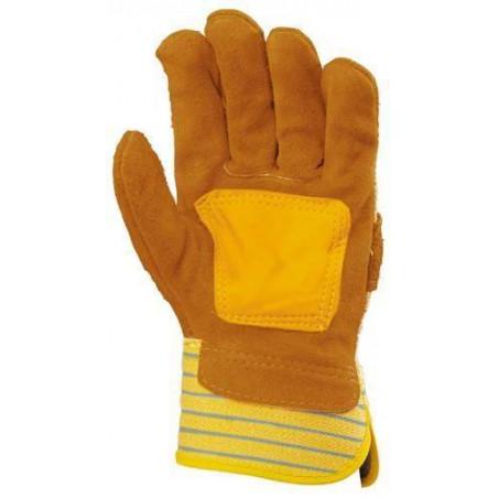 Lot 60 paires de Gants docker croûte vachette jaune, paume renforcée fleur 153