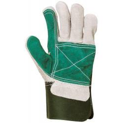 Gants docker croûte vachette renfort croûte vert