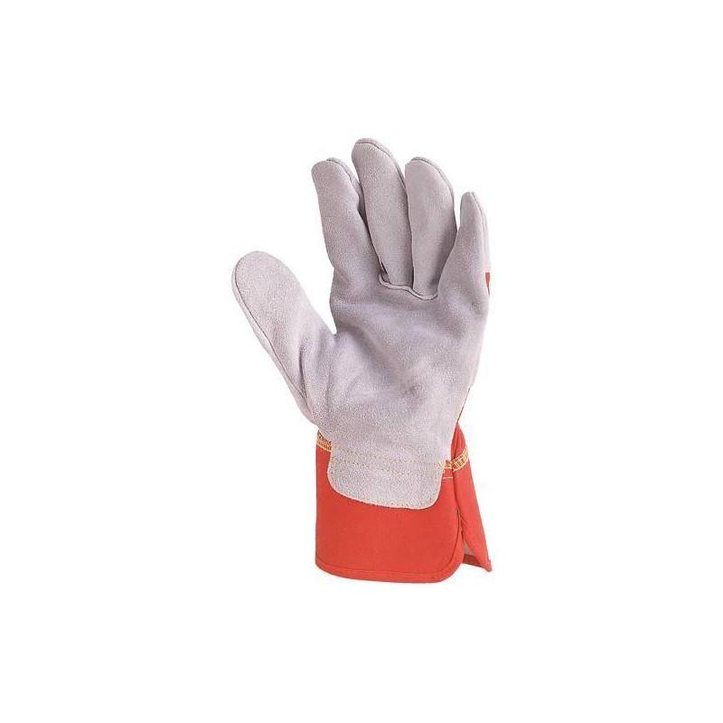 Gants docker croûte vachette supérieure gris, toile rouge