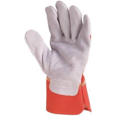 Lot 60 paires de Gants docker croûte vachette supérieure gris, toile rouge 155