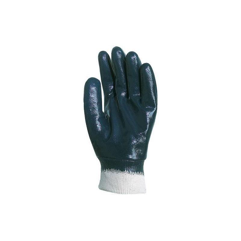 Lot 10 paires de gants nitrile bleu dos enduit, économique