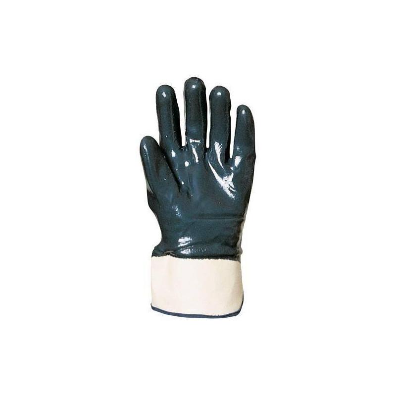 Lot 10 paires de gants nitrile bleu double enduction dos enduit, manch. de sécu., éco.