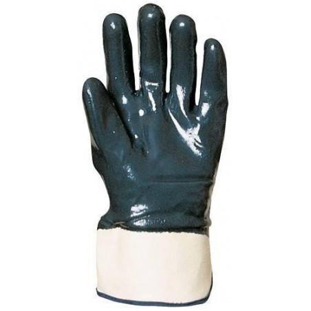 Lot 10 paires de gants nitrile bleu double enduction dos enduit, manchette de sécurité, standard