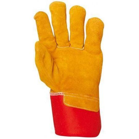 Lot de 60 paires de Gants docker croûte vachette toile rouge, mellotonnée polaire 330